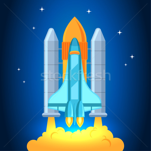 Startup illustration. Rocket in the clouds. Flat design style. Stock photo © MarySan