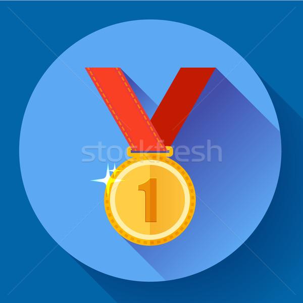 Złoty medal ikona pierwsze miejsce projektu stylu ceny Zdjęcia stock © MarySan