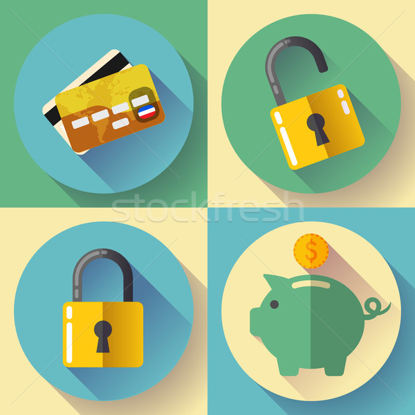 Online banking, Deposit and security Vector icons. Flat design style. Stock photo © MarySan