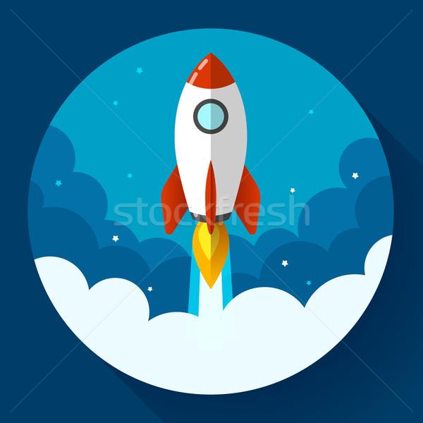 Startup illustratie raket wolken ontwerp stijl Stockfoto © MarySan