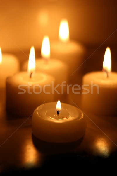 Wakacje świece palenie biały miłości świetle Zdjęcia stock © MarySan