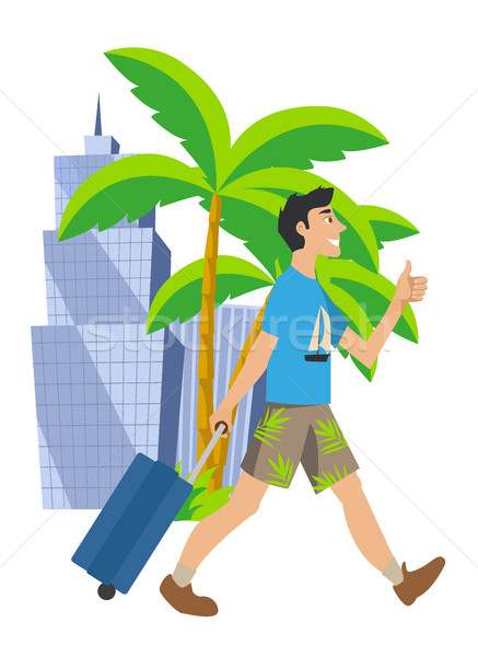 Man goes on vacation. Traveling to another country in the summer. walking with suitcase. Stock photo © MarySan
