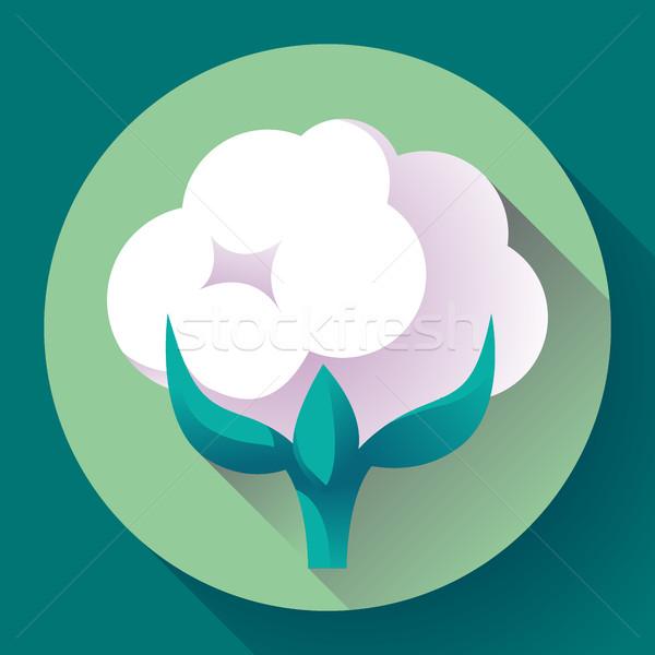 Katoen icon vector plant bloem voorjaar Stockfoto © MarySan