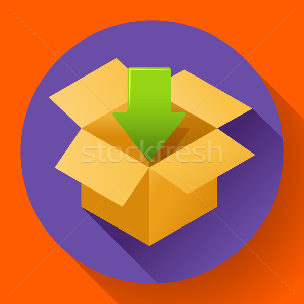 Shipping and packing icon. Flat design style. Stock photo © MarySan