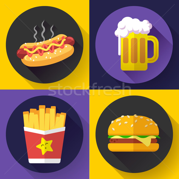 Set of fast food menu and beer icons. Flat design style. Stock photo © MarySan