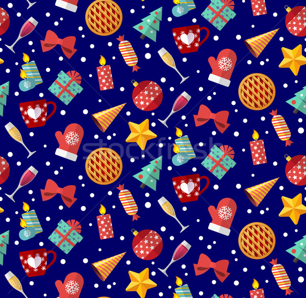 Cute christmas seamless pattern. Flat designed style Stock photo © MarySan