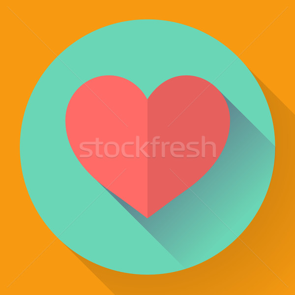 Heart with long shadow. Flat  designed style Stock photo © MarySan