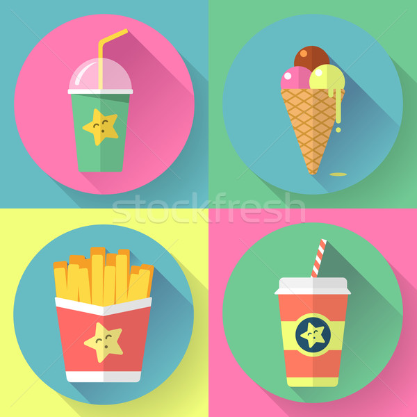 fast food colorful flat design icons set. template elements for web and mobile Stock photo © MarySan