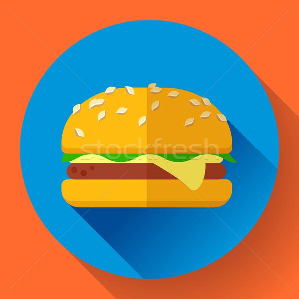 Hamburguesa icono largo sombra diseno estilo Foto stock © MarySan