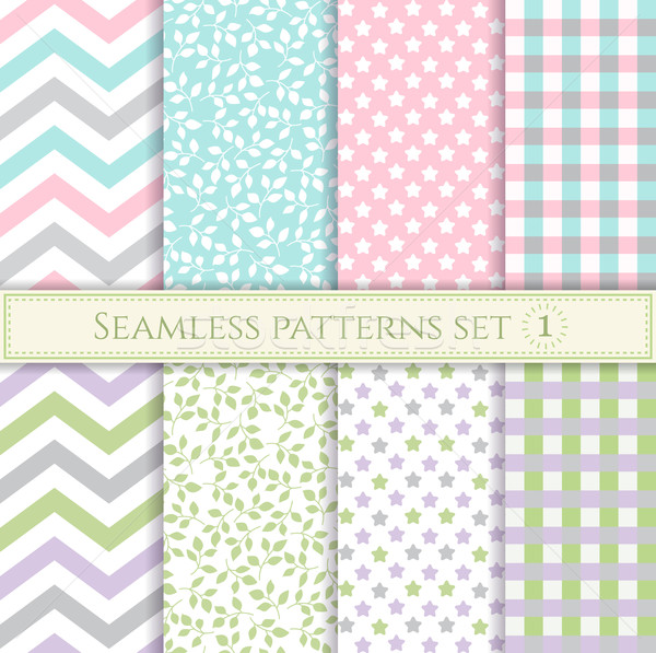 Set of seamless patterns in pastel colors for fabric, wrapping paper or scrap Stock photo © MarySan