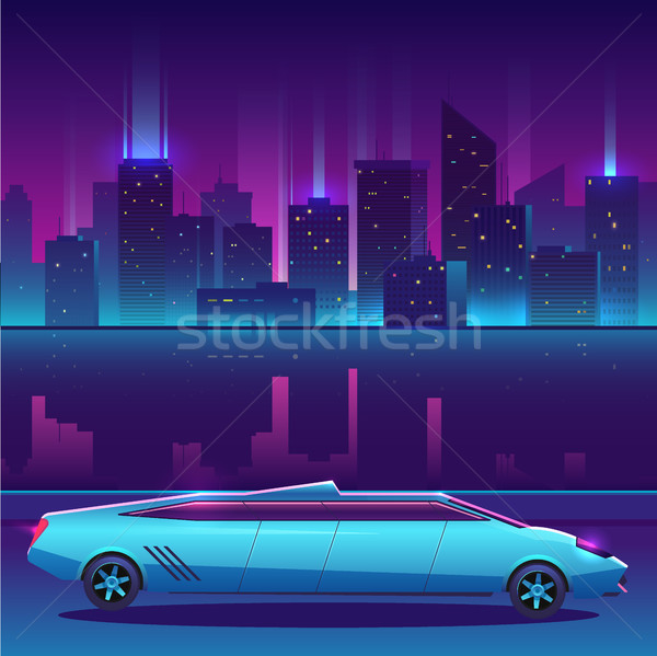 Limousine vector in front of night city urban landscape, luxury metropolis. Stock photo © MarySan