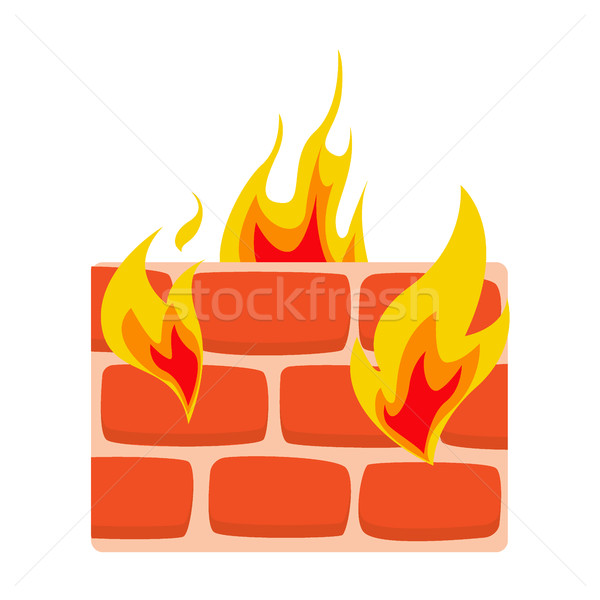 Firewall ikona ściany ognia sieci ochrony Zdjęcia stock © MarySan
