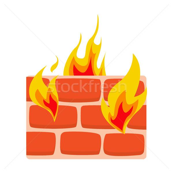 Firewall icon muur brand netwerk bescherming Stockfoto © MarySan