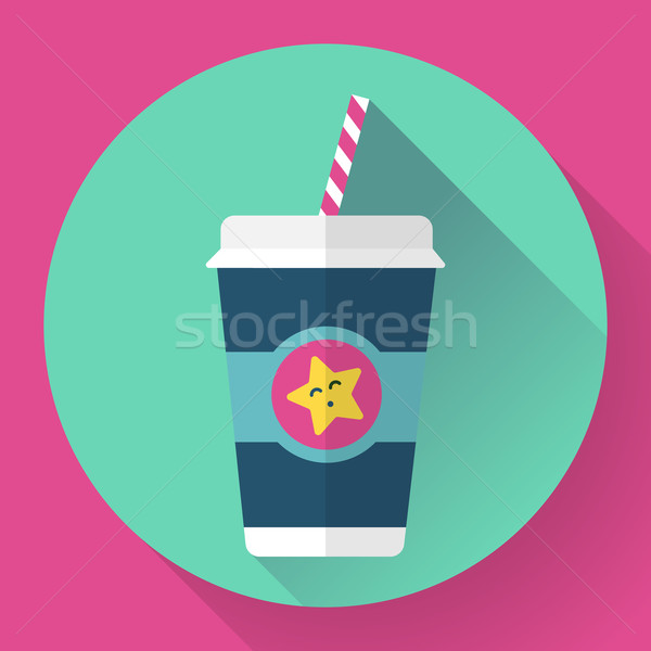 Paper coffee cup with straw. Hot outdoor drink. Flat style design - vector Stock photo © MarySan