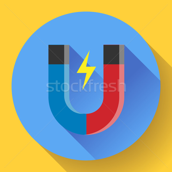 Vector icon horseshoe magnet. Symbol magnetism attraction. Flat design style. Stock photo © MarySan