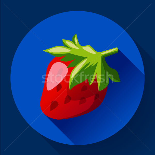 Strawberry icon with long shadow Stock photo © MarySan