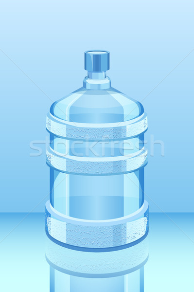 cooler water bottle reflected on blue vector illustration. Clean and fresh Stock photo © MarySan
