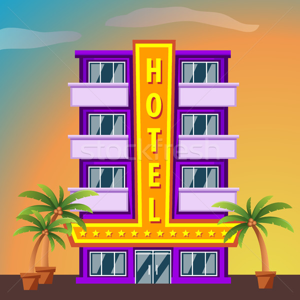 Miami Beach Hotel building with palm trees at sunset Stock photo © MarySan