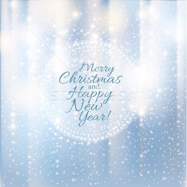 Stok fotoğraf: Neşeli · Noel · happy · new · year · kart · ışıklar · kar · taneleri