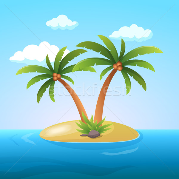 Summer Vacation Holiday Tropical Ocean Island With Palm Tree Flat Vector Illustration Stock photo © MarySan