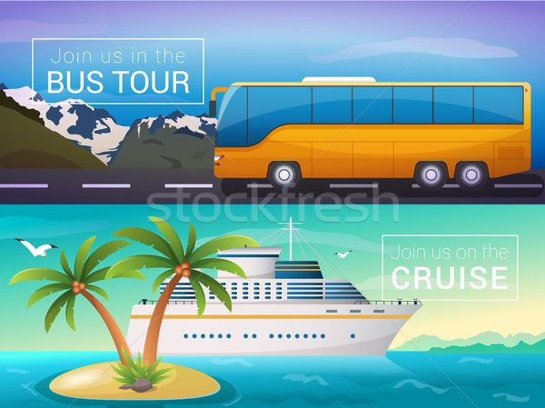 Vector travel banners set. Bus tour to Alps mountains, ocean sea cruise liner in the islands Stock photo © MarySan