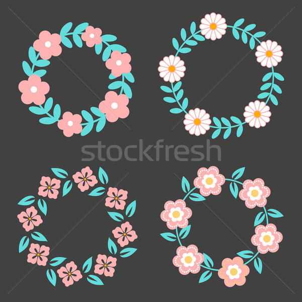 Stock photo: Floral Frame Collection. Cute retro flowers arranged un a shape of the wreath perfect for wedding in