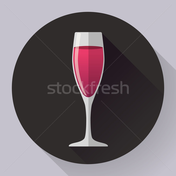 Vector icon - glass of pink wine. Flat designed style Stock photo © MarySan