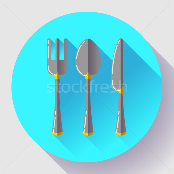 Dishes - Spoon knife and fork icon. Flat vector design with long shadow. Stock photo © MarySan