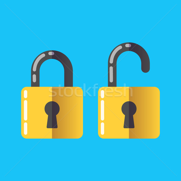 lock unlock icon vector password protected security Flat 2.0 design style Stock photo © MarySan