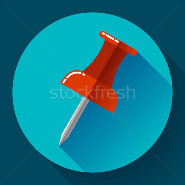 Flat Push pin icon vector Stock photo © MarySan