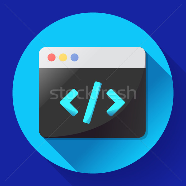 Coding icon vector flat program app Stock photo © MarySan