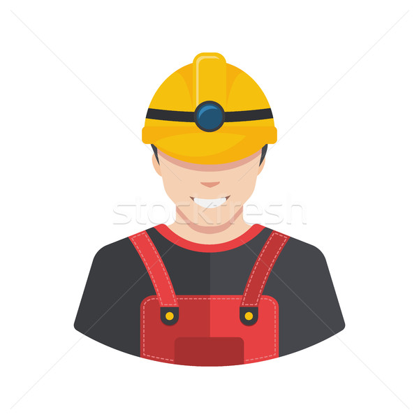 Smiling construction worker builder icon avatar flat. Stock photo © MarySan