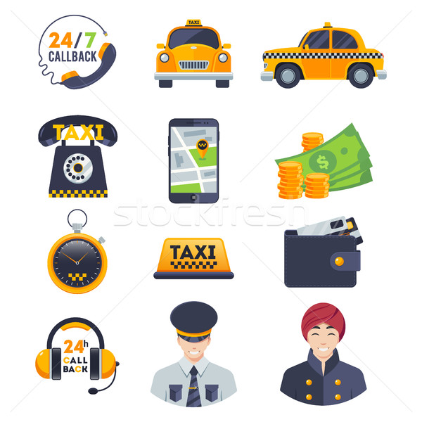 Szín taxi ikon szett rendelés sofőr izolált Stock fotó © MarySan
