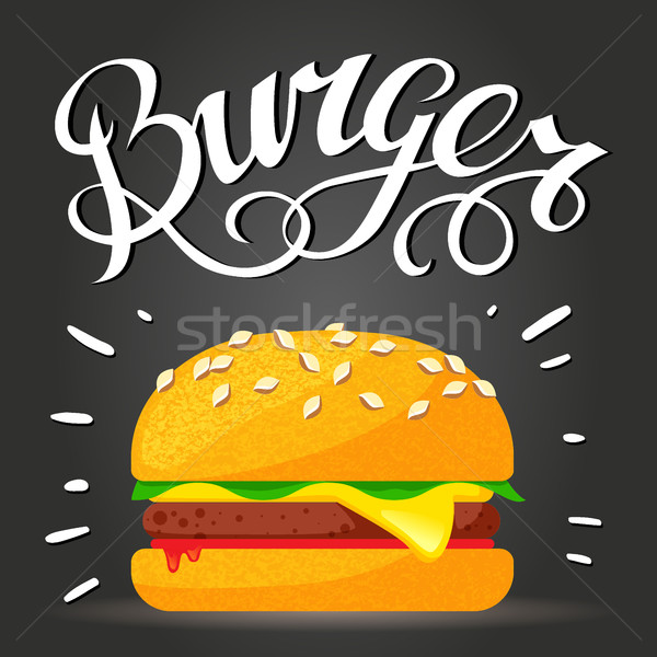 Burger hamburger cheeseburger vettore fast food poster Foto d'archivio © MarySan