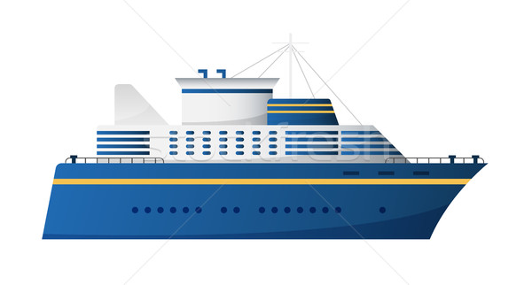 Vector seaway and ocean water transport passenger ship transatlantic cruise liner trendy flat design Stock photo © MarySan