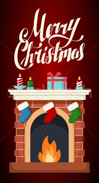 Karácsony kandalló illusztráció izolált ikon fekete Stock fotó © MarySan