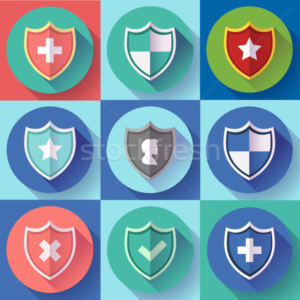Security shield icon set - protection symbols. Flat design style. Stock photo © MarySan