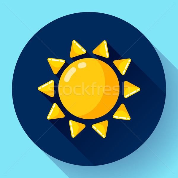 Vector flat color weather meteorology icon with long shadow Stock photo © MarySan