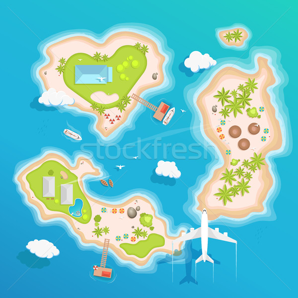 islands top aerial view - travel tourism vector illustration Stock photo © MarySan