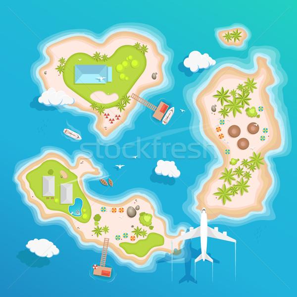 Eilanden top luchtfoto reizen toerisme stijl Stockfoto © MarySan