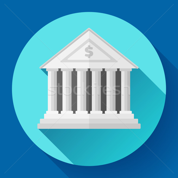 white bank building icon with long shadow. Flat design style. Stock photo © MarySan