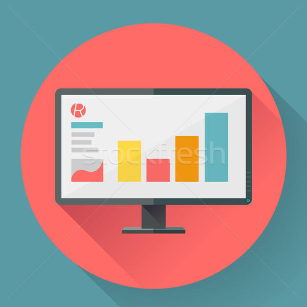 Flat style icon of wide angle monitor with marketing presentation. Stock photo © MarySan