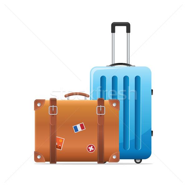 багаж путешествия чемодан икона два Камера Сток-фото © MarySan