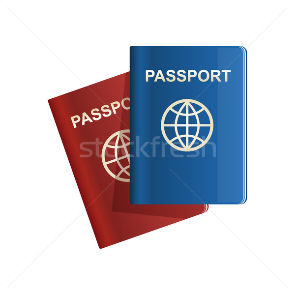 Red and blue leather Passport icon Vector illustration Stock photo © MarySan
