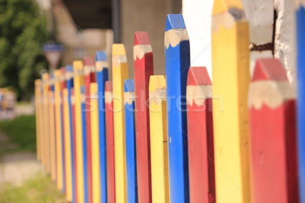 Kleur hek huis zoals potloden kantoor Stockfoto © MarySan