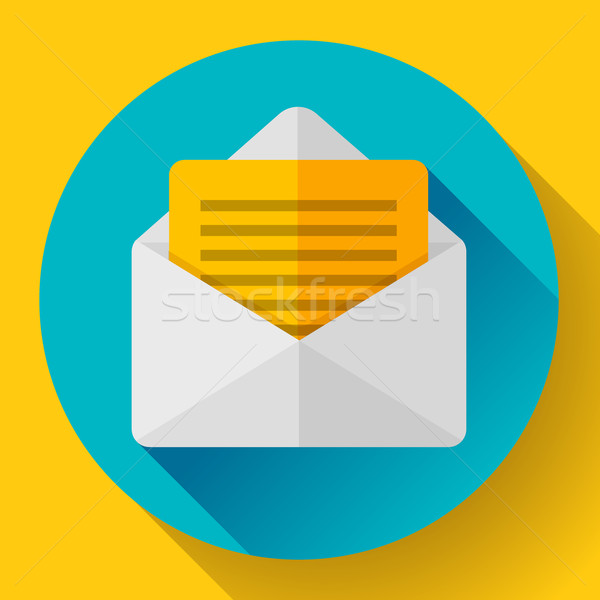 Open Envelope Mail Icon new letter message notification Flat 2.0 design style. Stock photo © MarySan