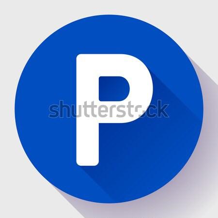 Parking podpisania ikona stylu wektora samochodu Zdjęcia stock © MarySan