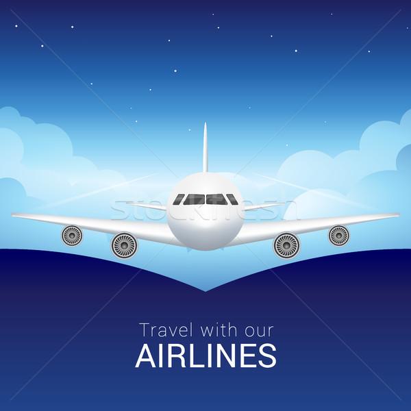 самолет небе облака безопасной полет Blue Sky Сток-фото © MarySan