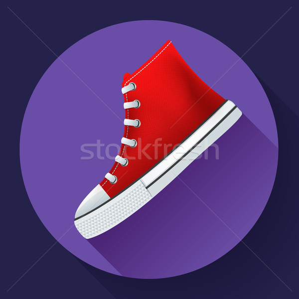 Stock photo: Red sneakers shoes for city running shoe flat design with long shadow
