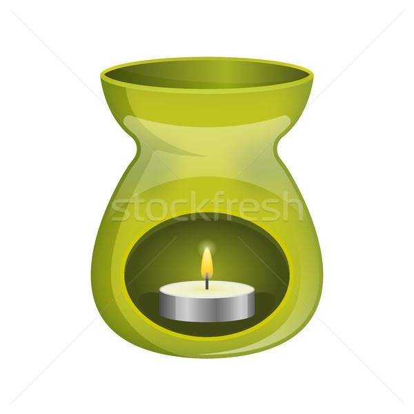Green aromatherapy lamp oil burner spa icon flat. Stock photo © MarySan